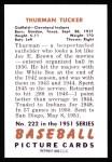 1951 Bowman REPRINT #222  Thurman Tucker  Back Thumbnail