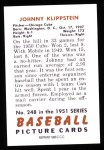 1951 Bowman REPRINT #248  Johnny Klippstein  Back Thumbnail