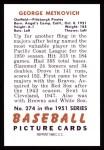 1951 Bowman REPRINT #274  George Metkovich  Back Thumbnail