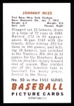 1951 Bowman REPRINT #50  Johnny Mize  Back Thumbnail