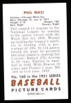 1951 Bowman REPRINT #160  Phil Masi  Back Thumbnail