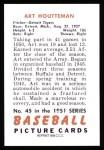 1951 Bowman REPRINT #45  Art Houtteman  Back Thumbnail