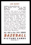 1951 Bowman REPRINT #302  Jim Busby  Back Thumbnail