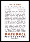 1951 Bowman REPRINT #112  Willie Jones  Back Thumbnail