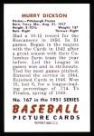 1951 Bowman REPRINT #167  Murry Dickson  Back Thumbnail