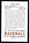 1951 Bowman REPRINT #197  Bob Cain  Back Thumbnail