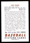 1951 Bowman REPRINT #217  Joe Page  Back Thumbnail