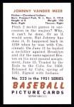 1951 Bowman REPRINT #223  Johnny Vander Meer  Back Thumbnail