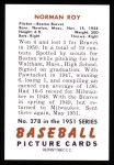 1951 Bowman REPRINT #278  Norman Roy  Back Thumbnail