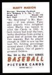 1951 Bowman REPRINT #34  Marty Marion  Back Thumbnail