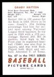 1951 Bowman REPRINT #47  Grady Hatton  Back Thumbnail