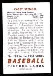 1951 Bowman REPRINT #181  Casey Stengel  Back Thumbnail