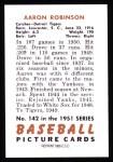 1951 Bowman REPRINT #142  Aaron Robinson  Back Thumbnail