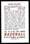 1951 Bowman REPRINT #12  Hank Majeski  Back Thumbnail