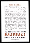 1951 Bowman REPRINT #150  Mike Garcia  Back Thumbnail