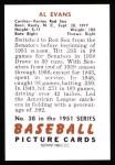 1951 Bowman REPRINT #38  Al Evans  Back Thumbnail