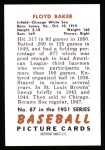 1951 Bowman REPRINT #87  Floyd Baker  Back Thumbnail