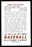 1951 Bowman REPRINT #292  Eddie Pellagrini  Back Thumbnail