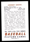1951 Bowman REPRINT #249  Johnny Groth  Back Thumbnail