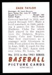 1951 Bowman REPRINT #315  Zack Taylor  Back Thumbnail