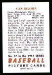 1951 Bowman REPRINT #57  Alex Kellner  Back Thumbnail