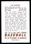1951 Bowman REPRINT #25  Vic Raschi  Back Thumbnail