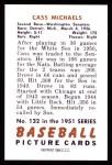 1951 Bowman REPRINT #132  Cass Michaels  Back Thumbnail