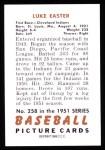 1951 Bowman REPRINT #258  Luke Easter  Back Thumbnail