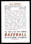 1951 Bowman REPRINT #262  Gus Zernial  Back Thumbnail