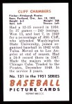 1951 Bowman REPRINT #131  Cliff Chambers  Back Thumbnail