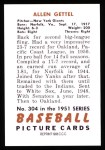 1951 Bowman REPRINT #304  Allen Gettell  Back Thumbnail