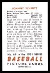 1951 Bowman REPRINT #69  Johnny Schmitz  Back Thumbnail