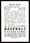 1952 Bowman REPRINT #162  Monte Irvin  Back Thumbnail