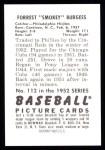 1952 Bowman REPRINT #112  Smoky Burgess  Back Thumbnail