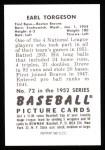 1952 Bowman REPRINT #72  Earl Torgeson  Back Thumbnail