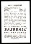 1952 Bowman REPRINT #184  Curt Simmons  Back Thumbnail