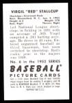 1952 Bowman REPRINT #6  Red Stallcup  Back Thumbnail
