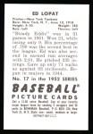 1952 Bowman REPRINT #17  Eddie Lopat  Back Thumbnail
