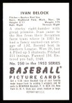 1952 Bowman REPRINT #250  Ivan Delock  Back Thumbnail