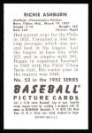 1952 Bowman REPRINT #53  Richie Ashburn  Back Thumbnail