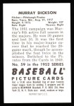 1952 Bowman REPRINT #59  Murry Dickson  Back Thumbnail