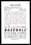 1952 Bowman REPRINT #95  Luke Easter  Back Thumbnail