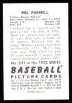 1952 Bowman REPRINT #241  Mel Parnell  Back Thumbnail