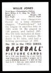 1952 Bowman REPRINT #20  Willie Jones  Back Thumbnail