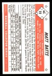 1953 Bowman B&W Reprint #22  Matt Batts  Back Thumbnail