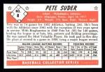 1953 Bowman B&W Reprint #8  Pete Suder  Back Thumbnail