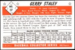 1953 Bowman REPRINT #17  Gerry Staley  Back Thumbnail