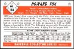 1953 Bowman REPRINT #158  Howard Fox  Back Thumbnail