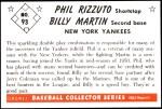 1953 Bowman REPRINT #93  Billy Martin / Phil Rizzuto  Back Thumbnail
