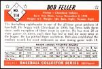 1953 Bowman REPRINT #114  Bob Feller  Back Thumbnail
